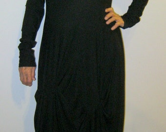 Long Tucked Black Dress