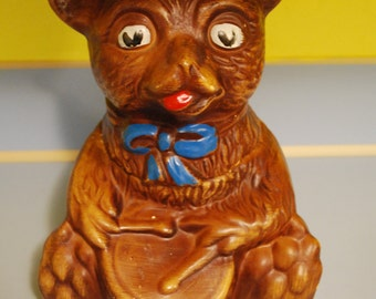 Vintage Ceramic Art Pottery Bear Cookie Jar with Drum & Bow likely by Maurice of California