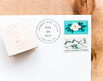 Postmark Date Stamp -  Personalized Save the Date Stamp, Wedding Letter Stamp, Wedding Date Stamp, Snail Mail Stamp, Postage (Style 35)