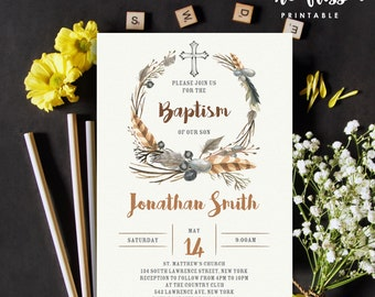 Watercolor Boho Feather Baptism Invitation | Christening | 5x7 | Editable PDF | Instant Download | Personalize at home with Adobe Reader