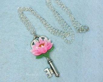 Necklace Key with Lotus Flower
