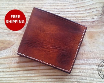 Genuine leather men's wallet, gift for him, men's gift