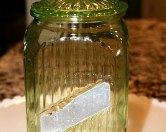 Vaseline Glass Canister//Hoosier Canister Jar//Ribbed Vaseline Glass//Vintage Vaseline Glass Container