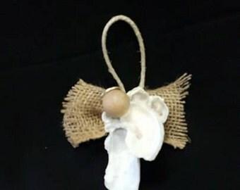 Handmade Oyster Shell & Burlap Angel Christmas Ornament From The Lowcountry Of South Carolina, Beach Decor, Christmas Decor