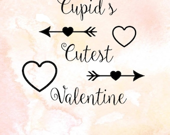Valentine svg file, cutting file for silhouette, svg file for cricut, script words with arrows pdf, eps, love svg, valentine sign, cupid