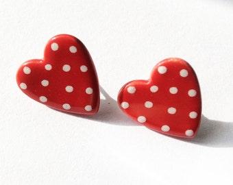 Dotty Heart Earrings, Dotty Stud Earrings, Red Earrings, Dotty Jewellery, Handmade Jewellery, Valentines Day Gift. Love Heart Earrings.