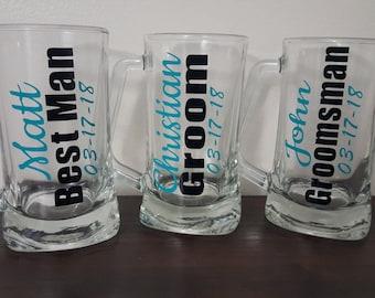 Wedding Beer Glasses, Groomsmen Beer Glasses, Groomsmen Gifts, Bachelor Party, Pilsner Glasses, Beer Glasses, Beer Mugs, Pub Glasses