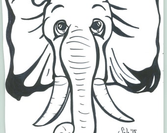 B&W Whimsical Elephant Nursery Art Print