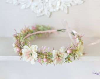 Blush Wedding flower crown Pastel bridal headpiece Pink gold bridal floral headband Pastel flower halo Wild flowers beads hair Boho wreath
