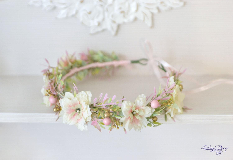 Wedding Flowers Pink And Gold : Blush wedding flower crown pastel bridal headpiece pink gold