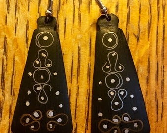 African hand-carved ebony earrings