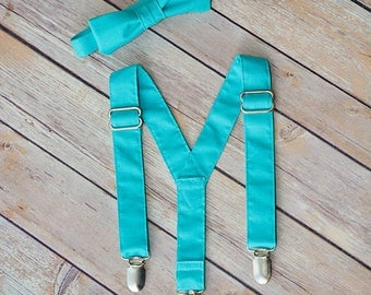 On Sale Pool Suspender and Bow Tie Set, Great Quality, Sizes Newborn to Adult, Free Shipping Offer, Fast Processing, Color Match to Bridals