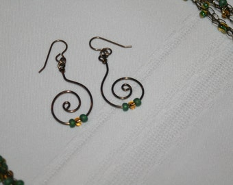 Copper Spiral Earrings with Green and Gold Beads