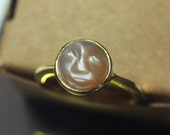 Man On The Moon Moonstone Ring, 14k Gold