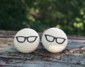 16mm Canvas/fabric nickel-free earrings - black and off-white eye glasses earrings