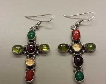 Native American Sterling Silver .925 Crucifix Earrings With Semi Precious Stones