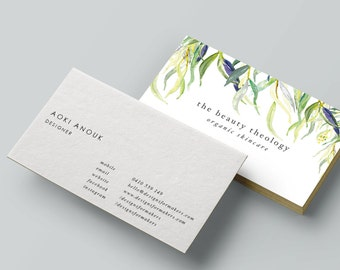 watercolor willow leaves business card premade business card design organic green gold leaves