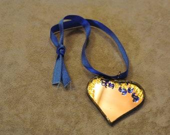 Heart pendant / Stain Glass Heart / Stain Glass Mirrou / Valentine Heart /Valentine Gift/ Suncatcher Heart /Mirrio Heart Gift/ Hanging Heart