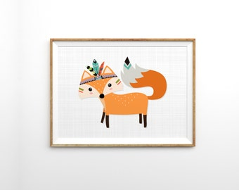 Woodland fox print - Nursery woodland animals - Tribal fox kids wall decor - Gender neutral nursery wall art - Whimsical bohemian art