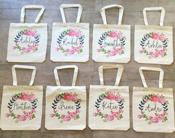 Personalized Bridesmaid totes (set of 8)