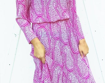 Vintage Summer dress By Starlo Hot Pink and White Paisley Size 9-10