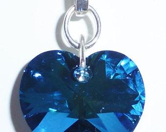 Bermuda Blue Swarovski Crystal Heart Necklace