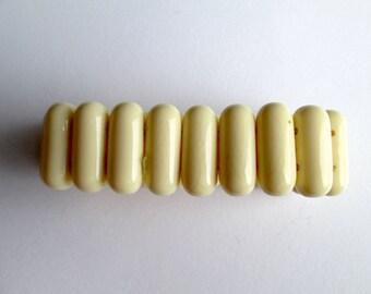 Vintage Faux Bone Cream Ecru Off White Ivory Plastic Side Drilled Capsule Bead Double Elastic Stretch Bracelet