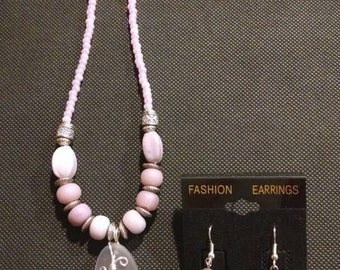 Wire Wrapped Amethyst/Lavender Seaglass Beaded Jewelry Set
