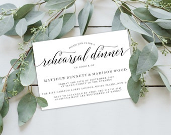 Rehearsal Dinner Invitation Template | Editable Invitation Printable | Rehearsal Dinner Invite| No. PW 5351