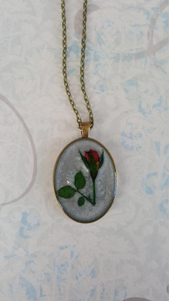 Dried Flower Necklace Pressed Rose Pendant Handmade Resin