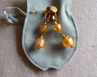Dangle gold Murano glass clip on earrings BO CL 4