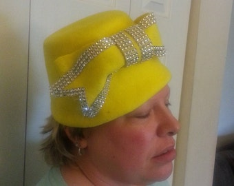 Bright yellow,neon silver trimmed felt hat