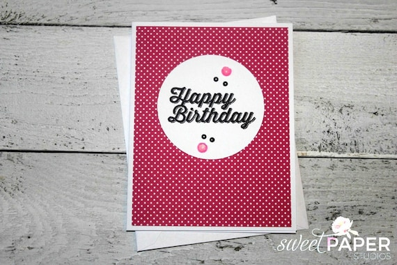 Stampin' Up! Birthday Card, Pretty in Pink Collection, Feminine Birthday Card, Black and Pink Greeting Card, Pink Polka-Dot Birthday Card