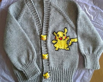 Hand Knit Pokemon Baby Sweater Set with Matching Hat (2 Piece), Pikachu Ships Immediately!