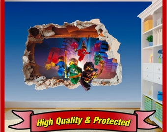 Lego Ninjago Hole in Wall Art Stickers Decal Childrens Bedroom Boys and Girls