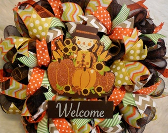 Fall Welcome Wreath, Fall Wreath, Fall Wreaths, Scarecrow Wreath, Harvest Wreath,Thanksgiving Wreath, Happy Thanksgiving