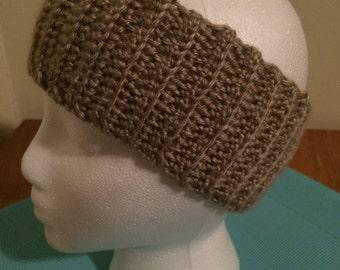 Crochet ear warmer, crochet headband - Taupe