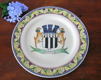 "Manufactured collection plate ""earthenware""Rennes FRANCE, art and collection"