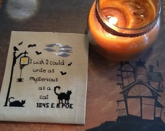 Edgar A. Poe Pattern for cross stitching,  I wish I could write as mysterious as a cat,  Cross stitch Primitive