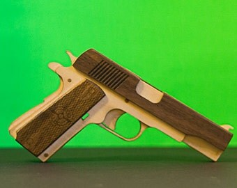 1911 Pull back hardwood accents rubber band gun kit