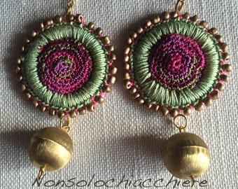 Hoop earrings crochet/ beads and metal balls