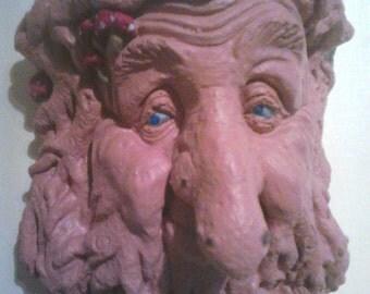 Terracotta Blue eyed green man
