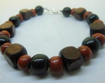 WOOD Red, Black, natural Bracelet