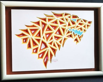 30%OFF ,House of Stark,FREE SHIPPING,Geometrical 3D Paper Cutting Artwork,Unique Game of thrones art.