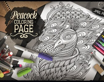peacock coloring page adult coloring printable coloring book coloring sheet hand drawn - Peacock Coloring Book