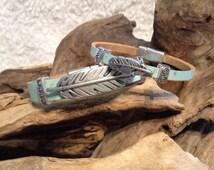 Leather Bracelet, Turquoise, Feather Bracelets, Mother/Daughter bracelets, Cheyene Song