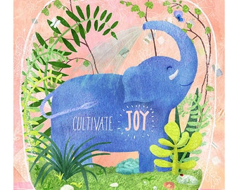 Cultivate Joy Happy Elephant Watercolor Collage Print