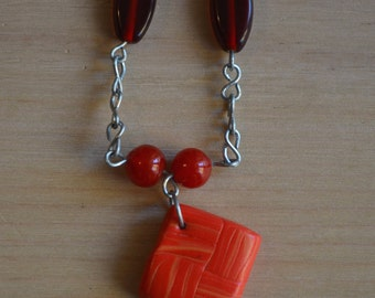 red necklace pendant polymer clay