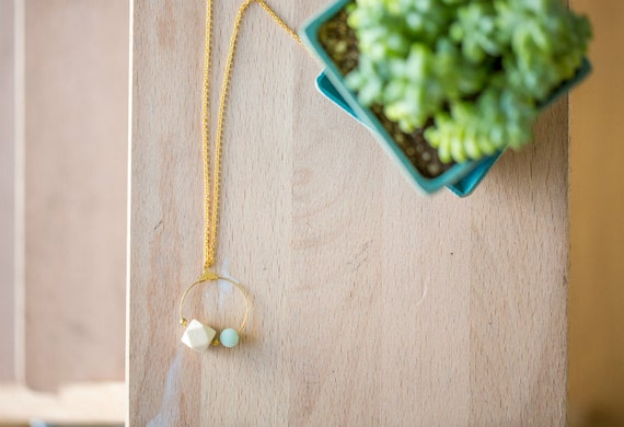 Essential Oil Diffuser Necklace // Wood & Round Amazonite on Hoop Pendant