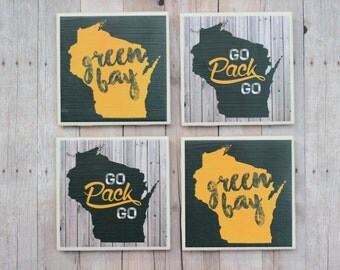 Green Bay Packers / Coasters / Father's Day / Green Bay / Wisconsin Coasters / Green Bay Coasters / Go Pack Go, Coasters / Packers Coasters